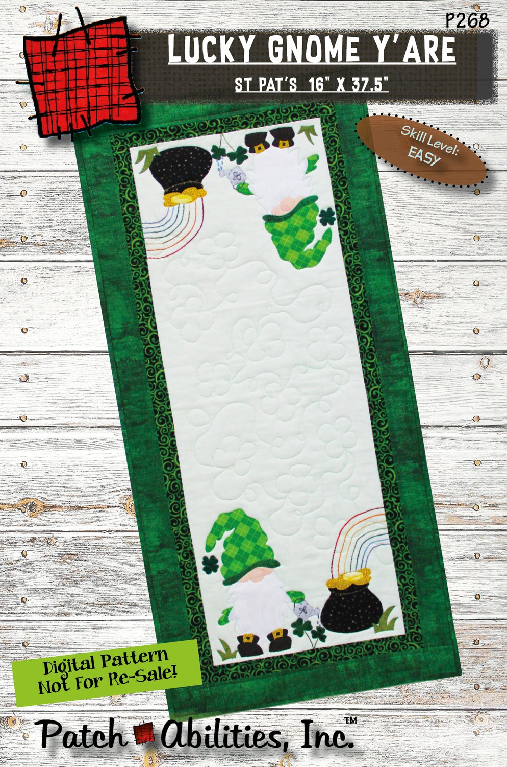P268 Lucky Gnome Y'are Table Runner - DIGITAL DOWNLOAD PATTERN