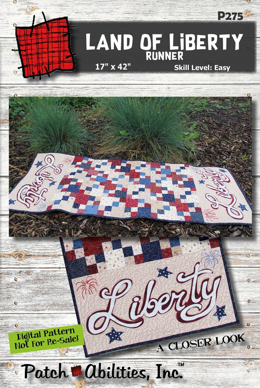 P275 Land of Liberty Table Runner - DIGITAL DOWNLOAD PATTERN