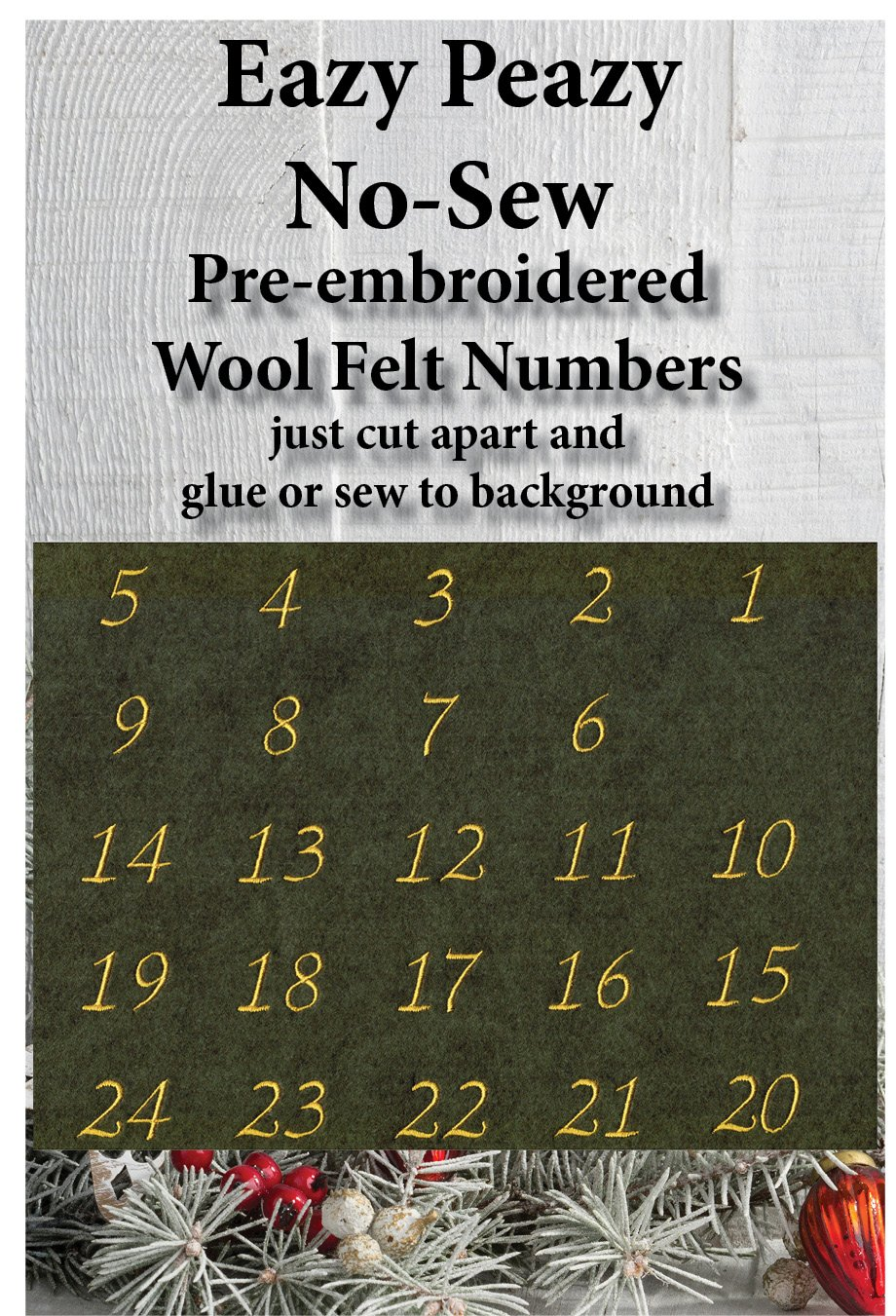 WW105 Green Wool Felt Embroidered Numbers