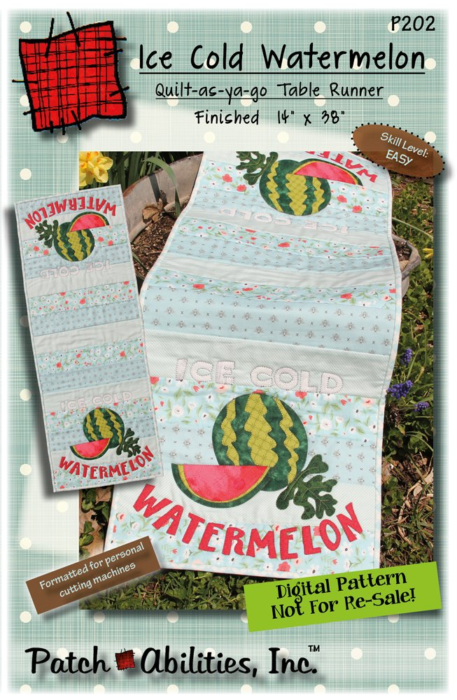 P202 Ice Cold Watermelon table runner - DIGITAL DOWNLOAD PATTERN