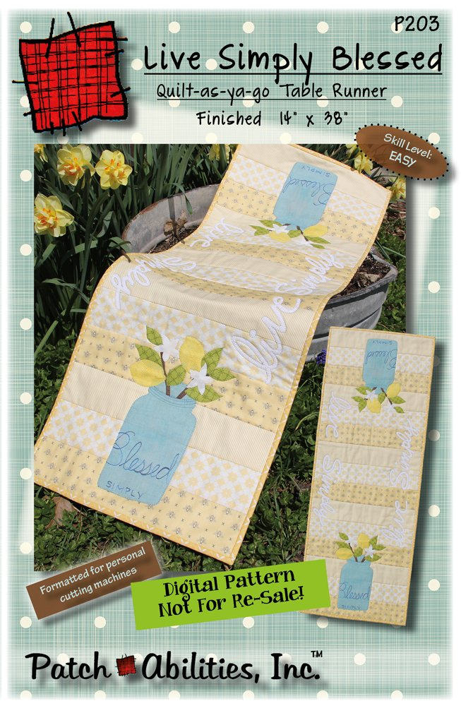 P203 Live Simply Blessed table runner - DIGITAL DOWNLOAD PATTERN