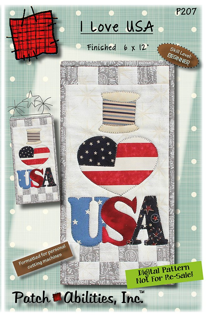 P207 I Love USA quilted wall hanging - DIGITAL DOWNLOAD PATTERN