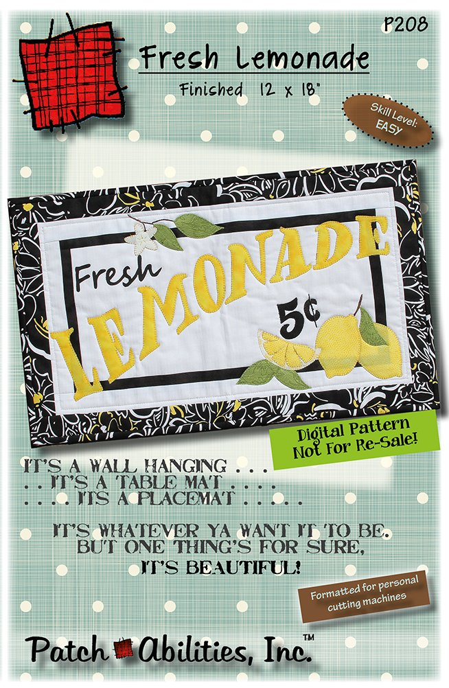 P208 Fresh Lemonade wall hanging - DIGITAL DOWNLOAD PATTERN