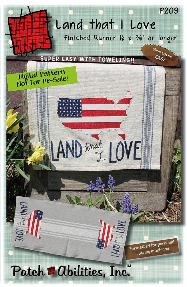 P209 Land that I Love, patriotic toweling table runner - DIGITAL DOWNLOAD PATTERN