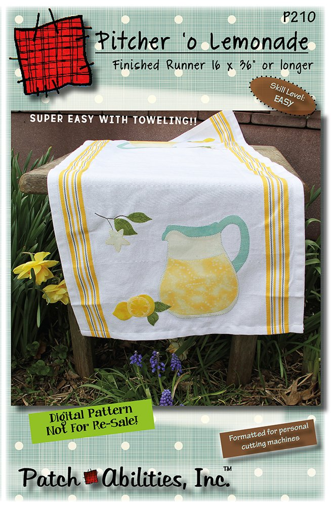 P210 Pitcher 'o Lemonade toweling table runner - DIGITAL DOWNLOAD PATTERN