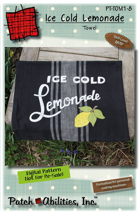 PT-TOM1-8 Ice Cold Lemonade towel - DIGITAL DOWNLOAD PATTERN