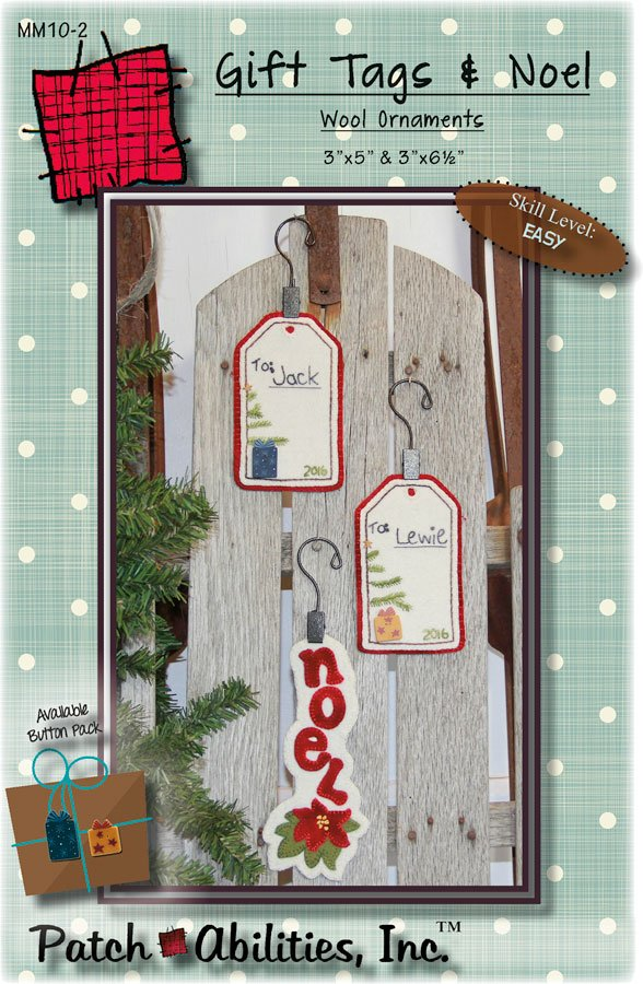 MM10-2 Gift Tags & Noel wool ornaments