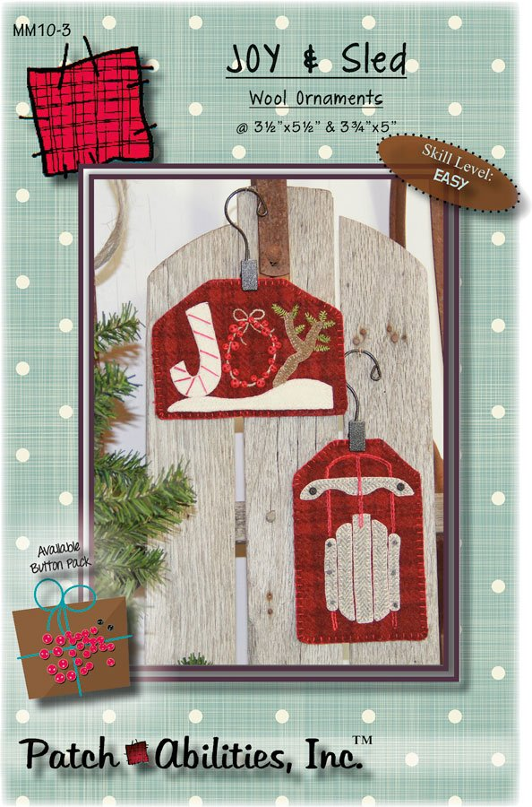 MM10-3 Joy & Sled wool ornaments