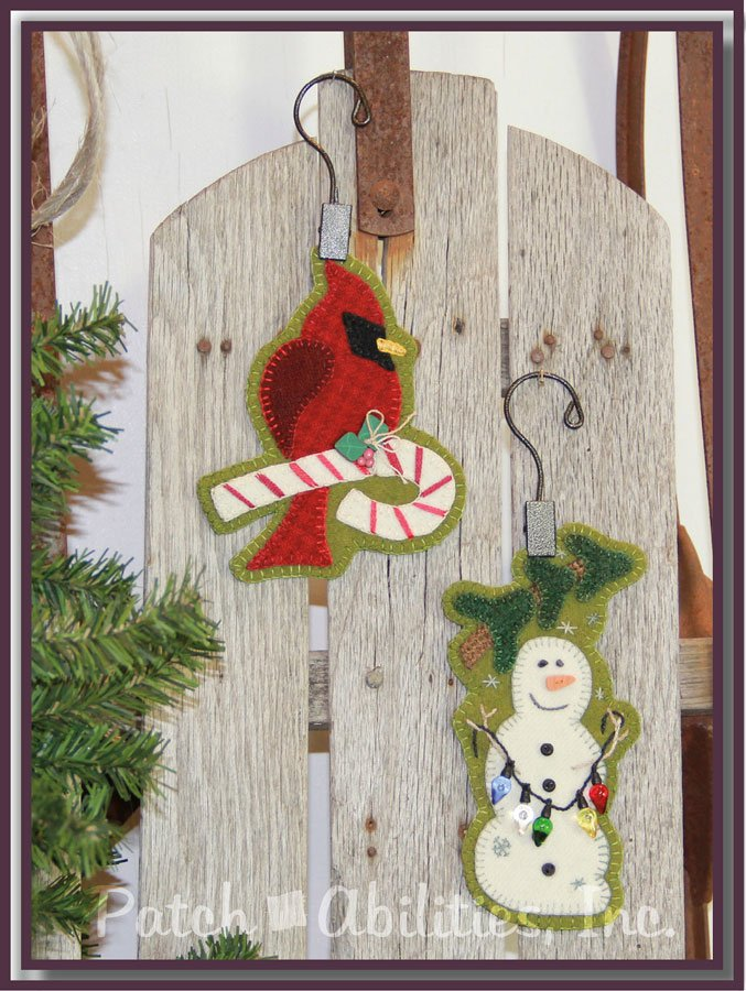 Candy Cane Cardinal and Snowman Wool Ornaments with Wool Kit