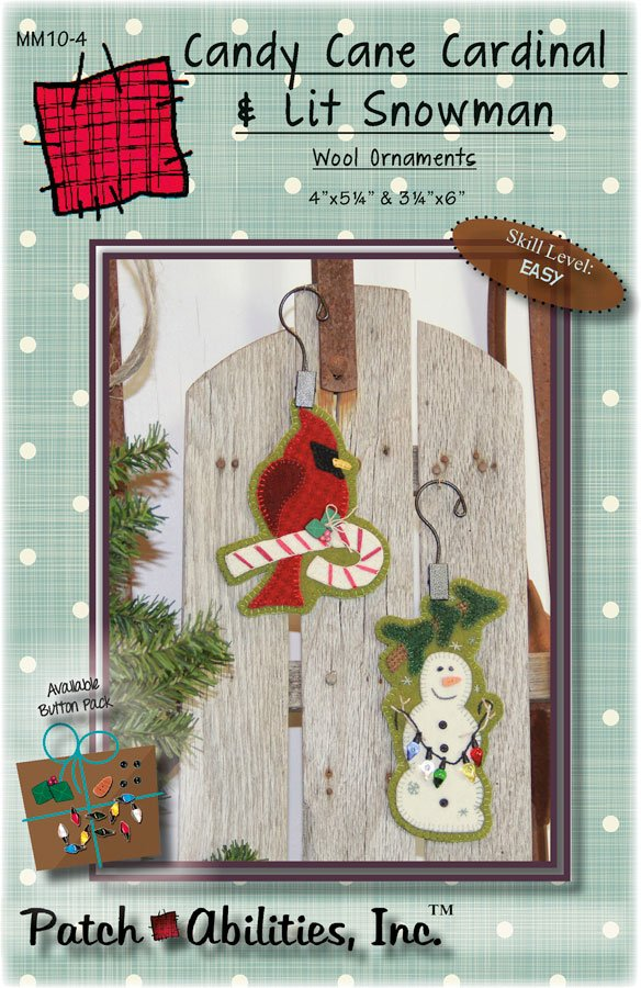 MM10-4 Candy Cane Cardinal & Lit Snowman wool ornaments