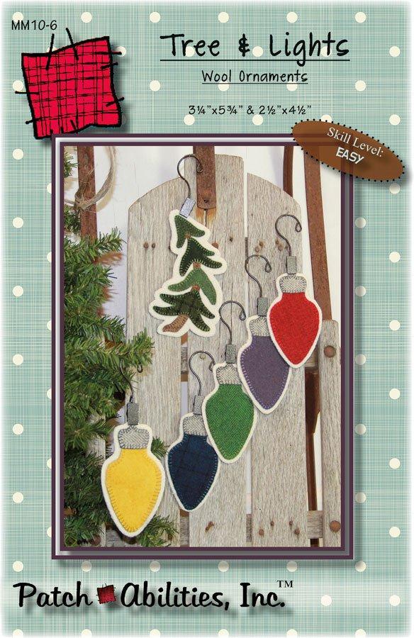 MM10-6 Tree & Lights wool ornaments