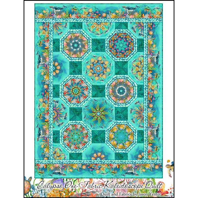 CALYPSO ONE FABRIC KALEIDOSCOPE QUILT PATTERN