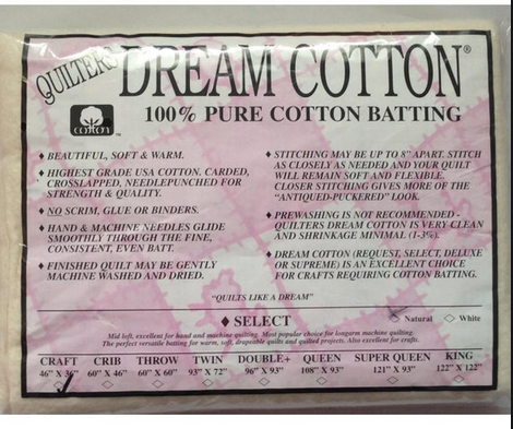 Dream Cotton Batting Select Craft - Natural (46 x 36)