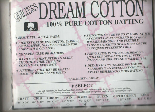 Dream Cotton Batting Select Double - Natural (96 x 93)