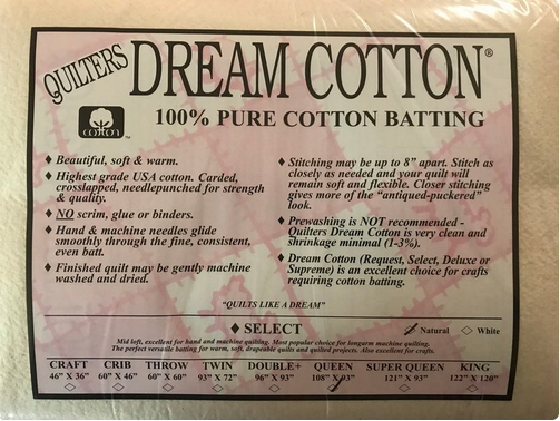 Dream Cotton Batting Select Queen - Natrual (108 x 93)