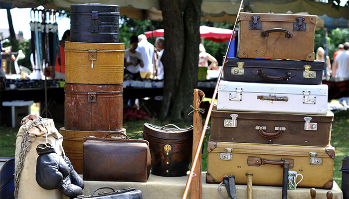 Various suitcases and trunks