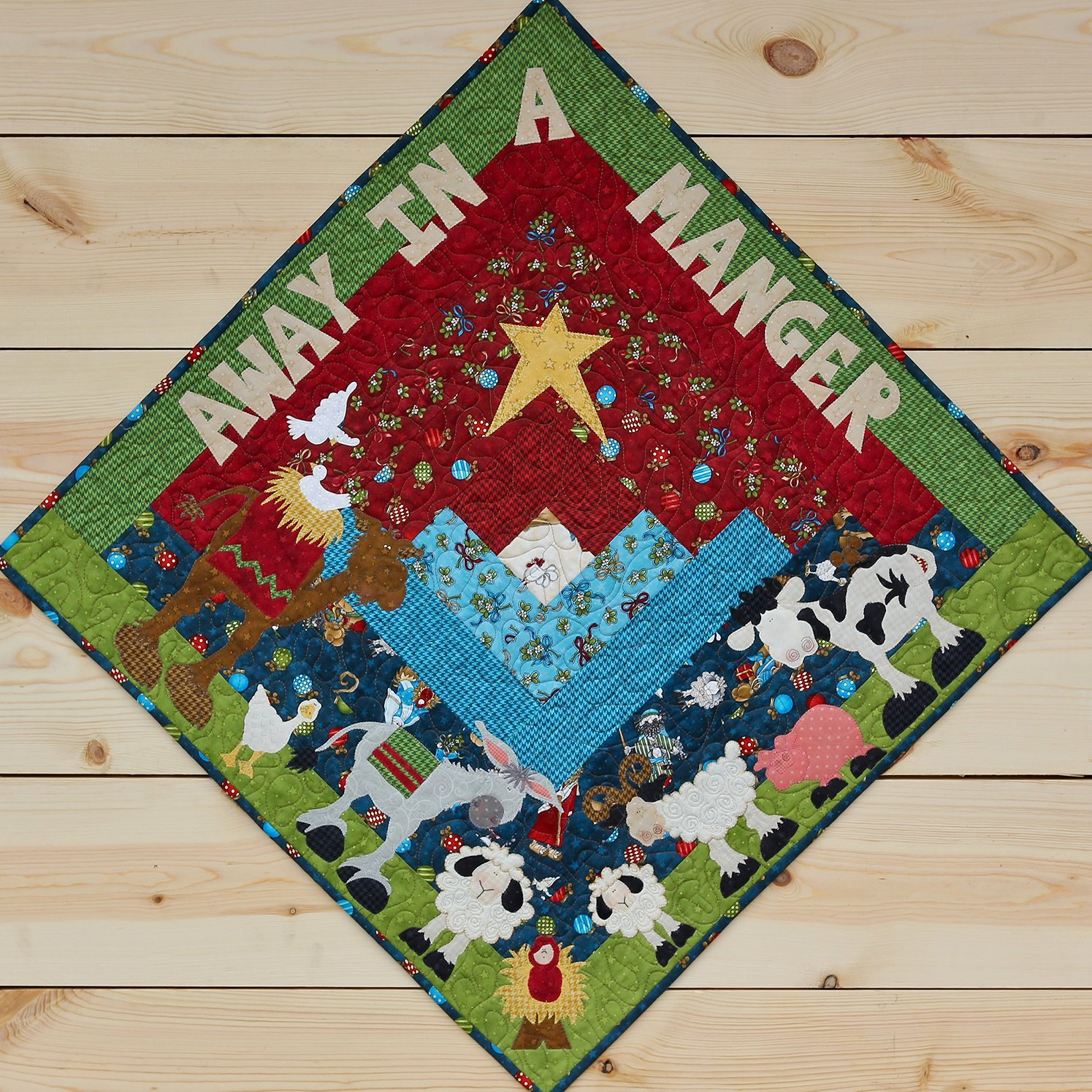 Away in a Manger Table Topper & Precut Applique Pack & Fabric