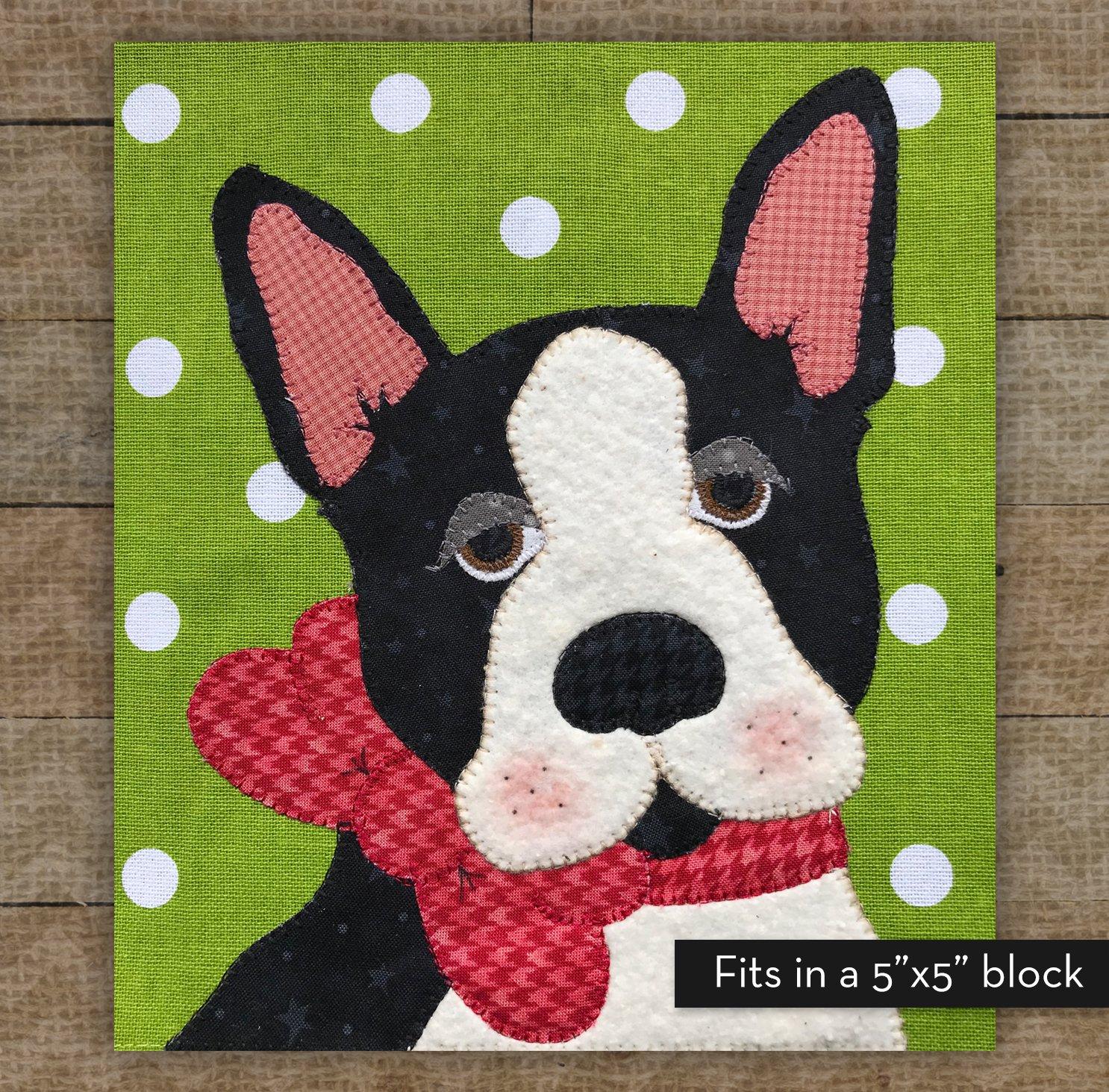Small Boston Terrier Precut Fused Applique Kit