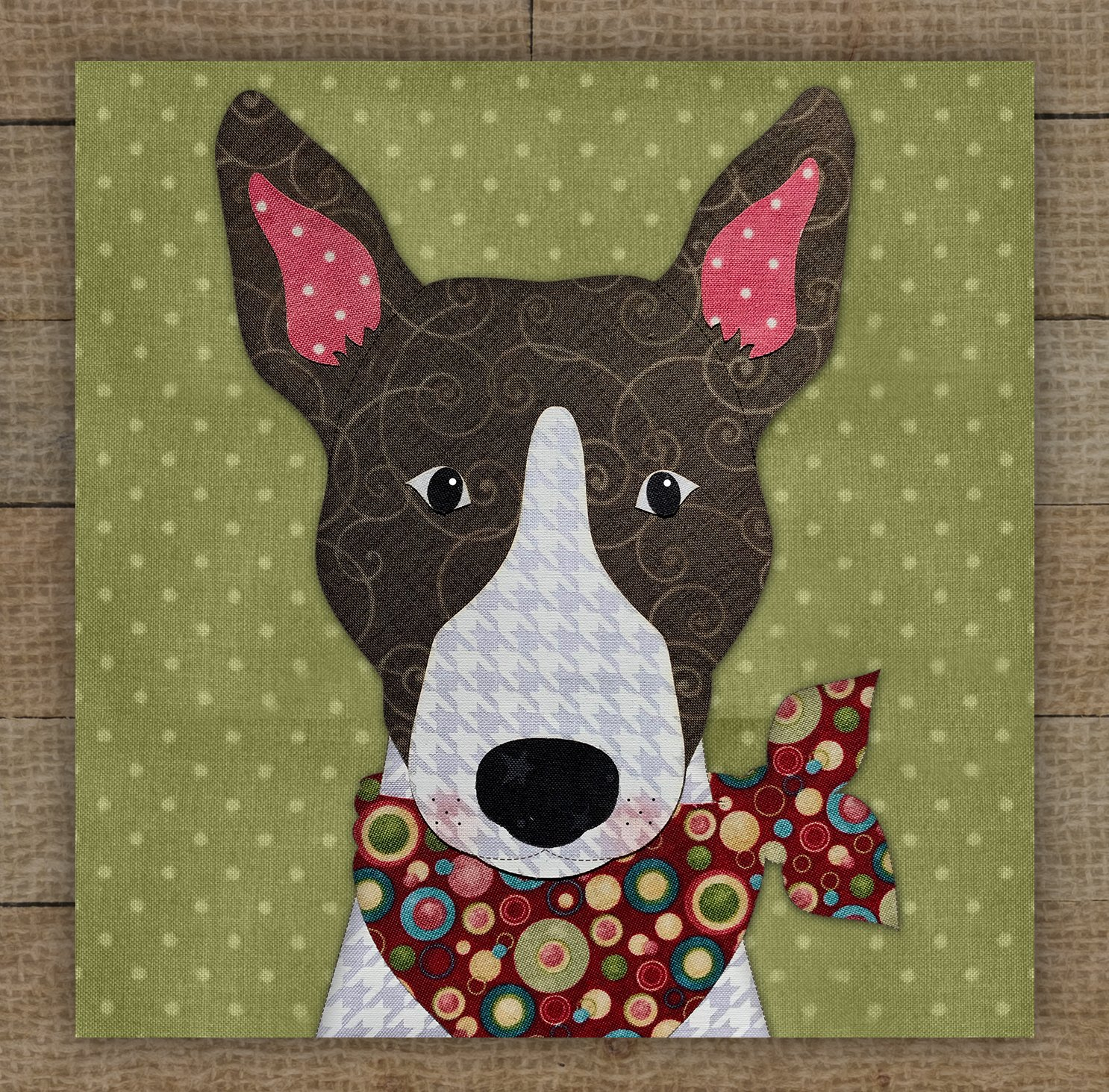 Bull Terrier (Brown) Precut Fused Applique Kit