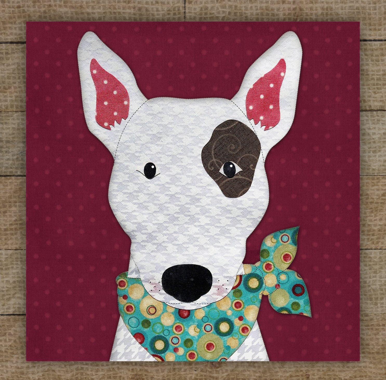 Bull Terrier (White) Precut Fused Applique Kit