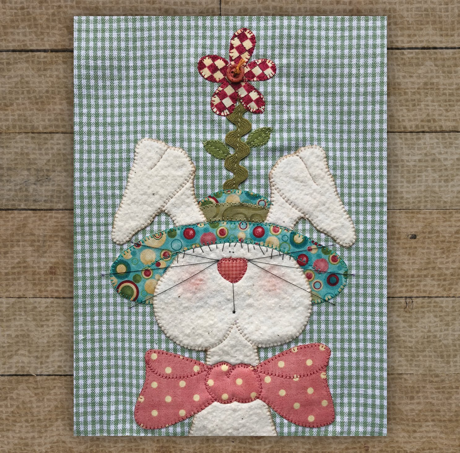Bunny with Teal Hat Precut