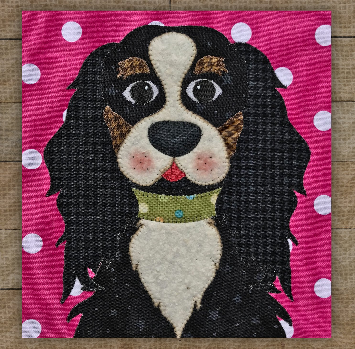 Cavalier King Charles Spaniel Black - Precut Fused Applique Kit