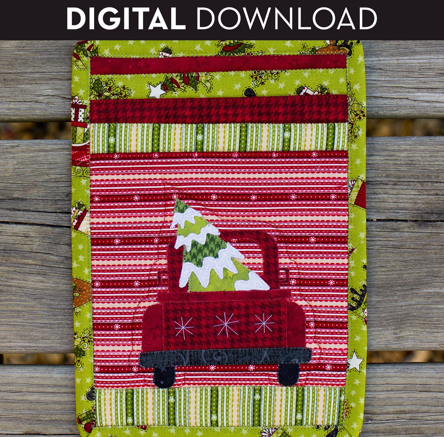 Christmas Truck Mug Rug - Download