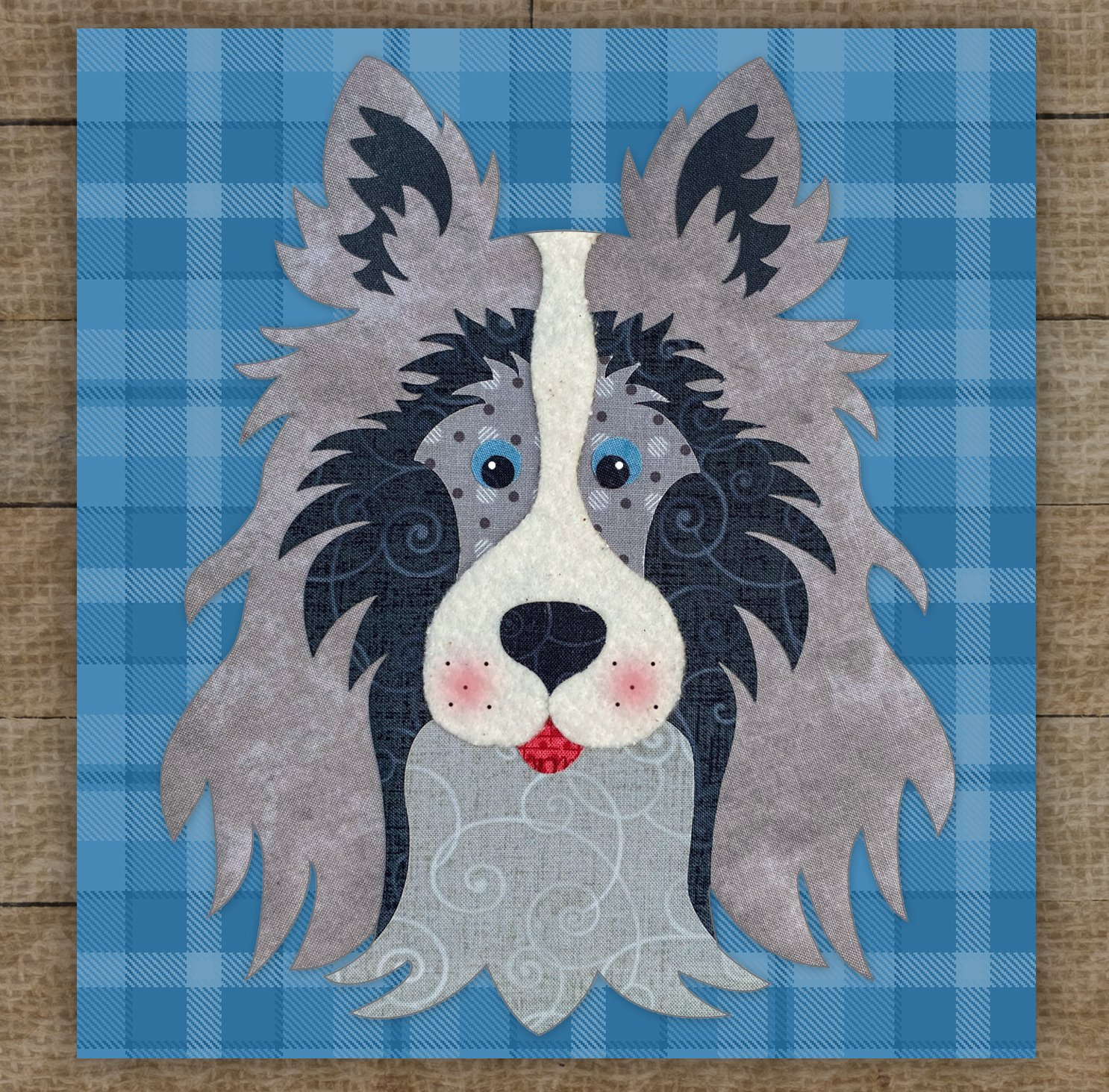 Collie / Sheltie Blue Merle Precut Fused Applique Kit