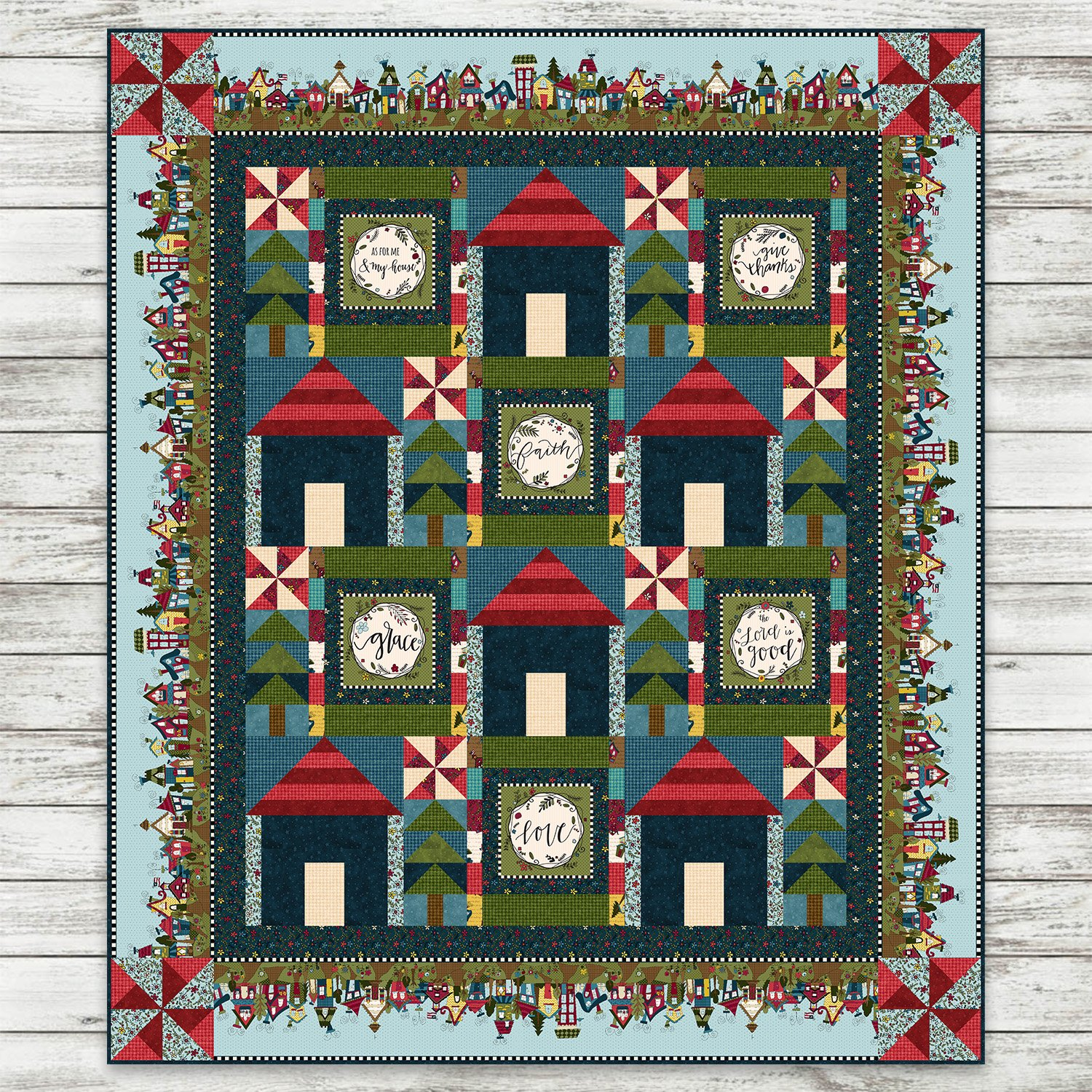 Covered in Truth - Block House Quilt w Border Stripe Kit