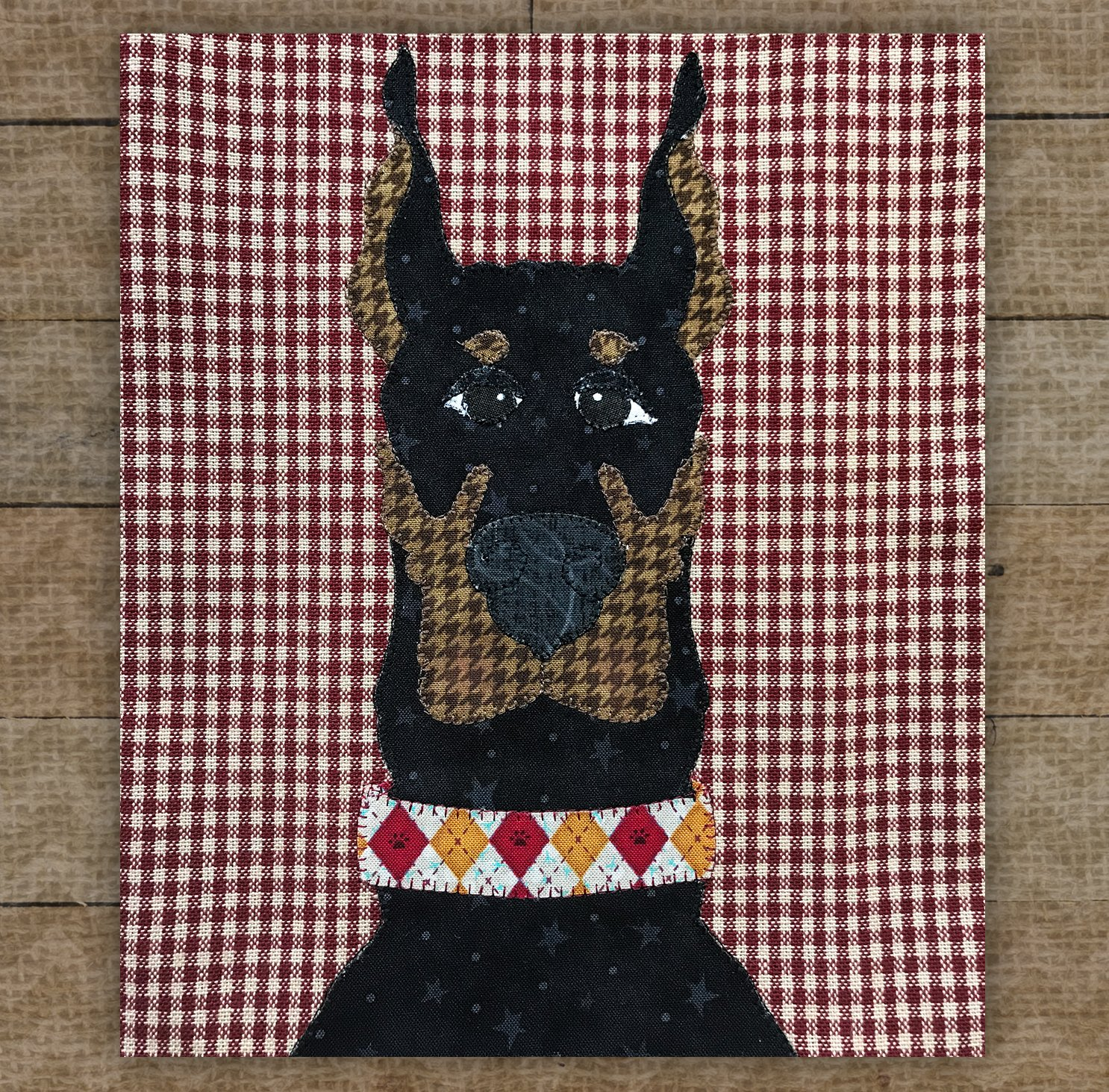 Doberman Pinscher Black - Precut Fused Applique Kit