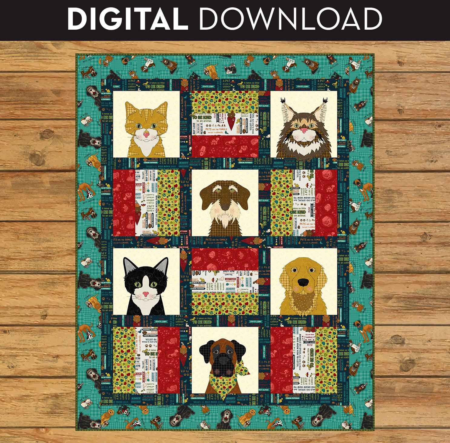 Dog & Cat Rescue Quilt - Download