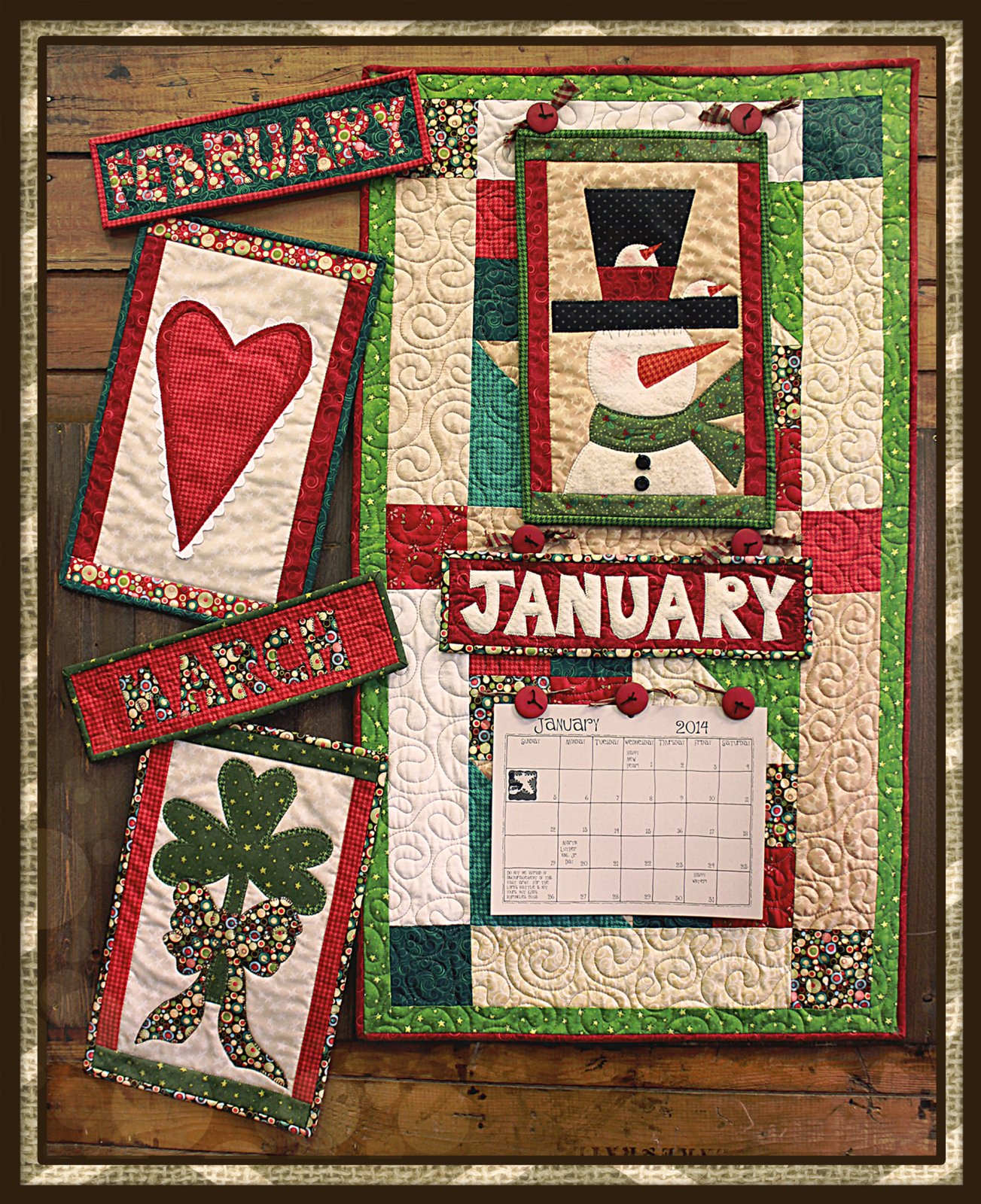 Doodle Days Calendar & Base Quilt January * February * March