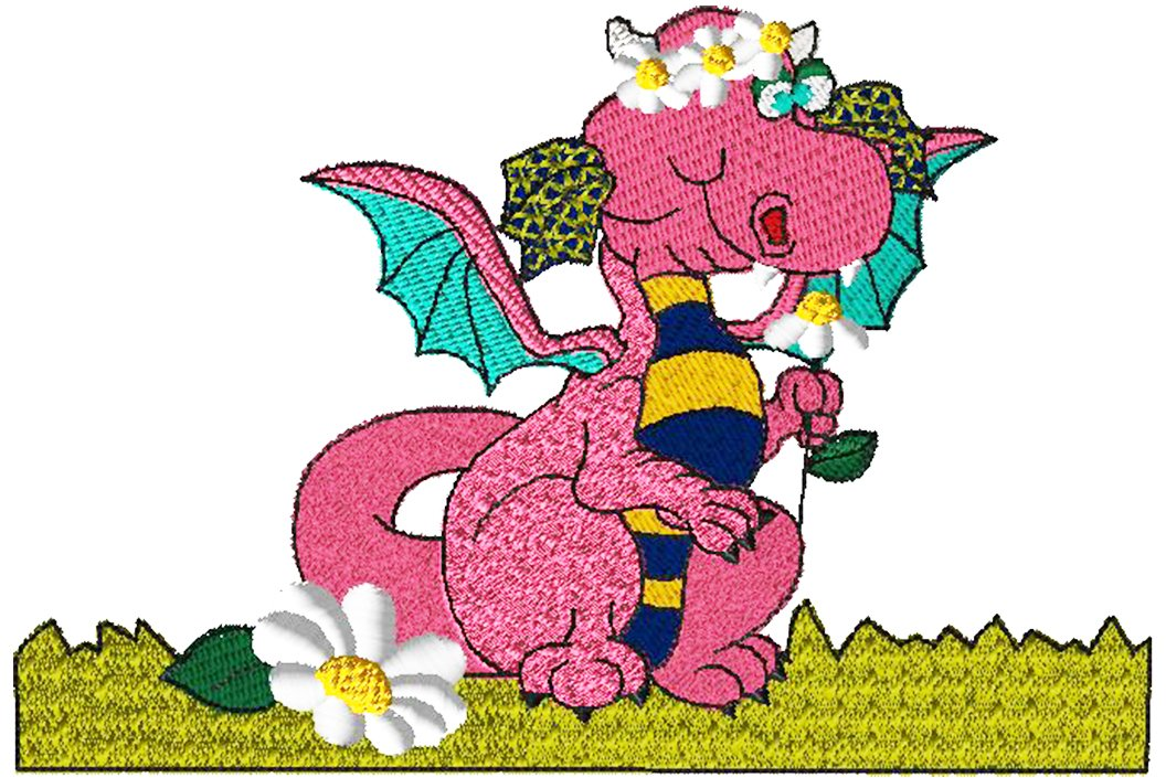 Dragon 8 Little Girl Dragon Embroidery - Download