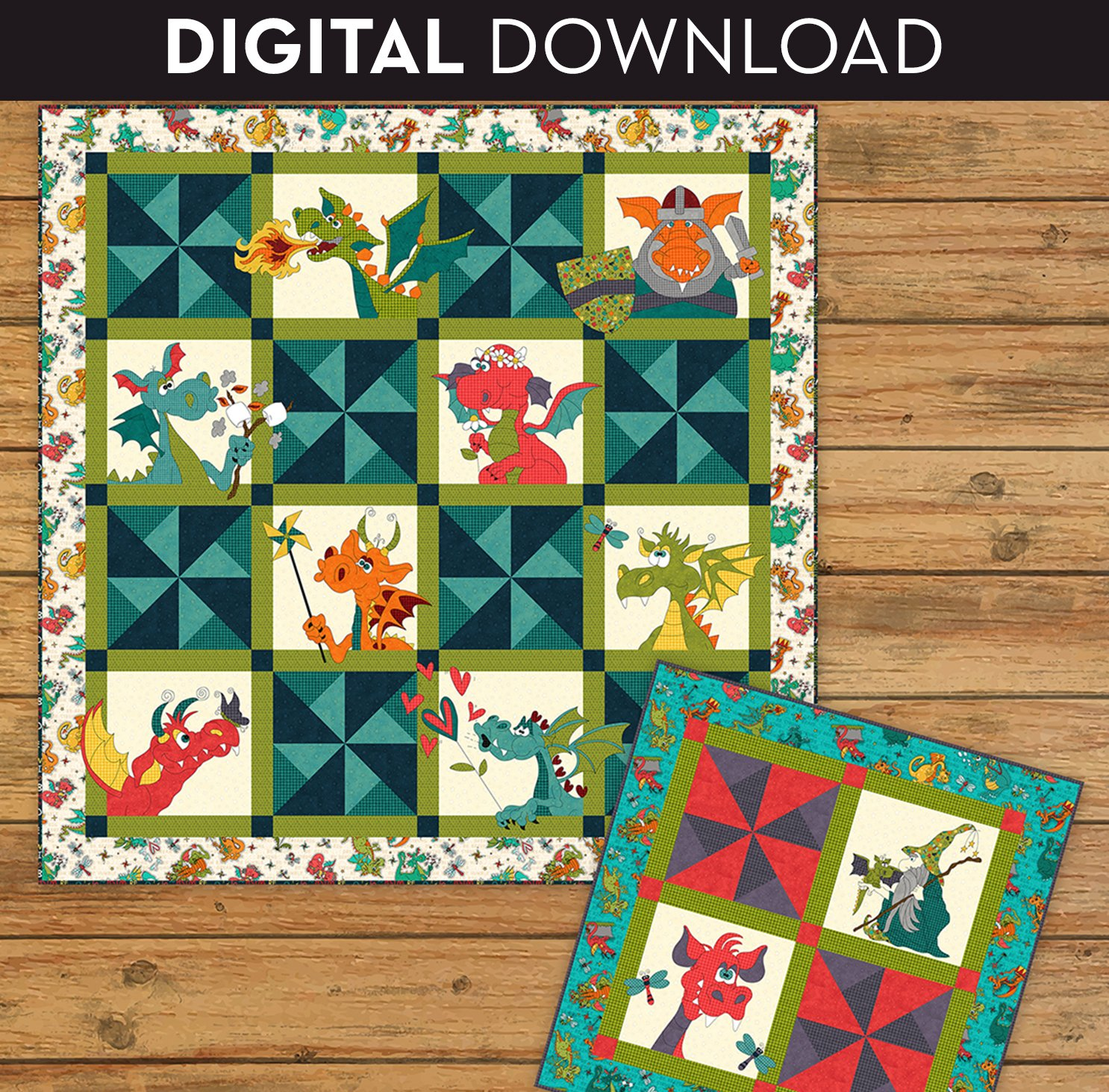 Dragon Applique Quilt & Table Topper - Download