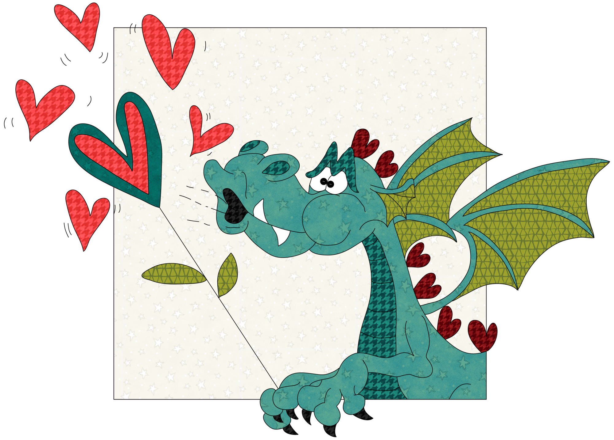 Bubbles Dragon Precut Fused Applique Pack