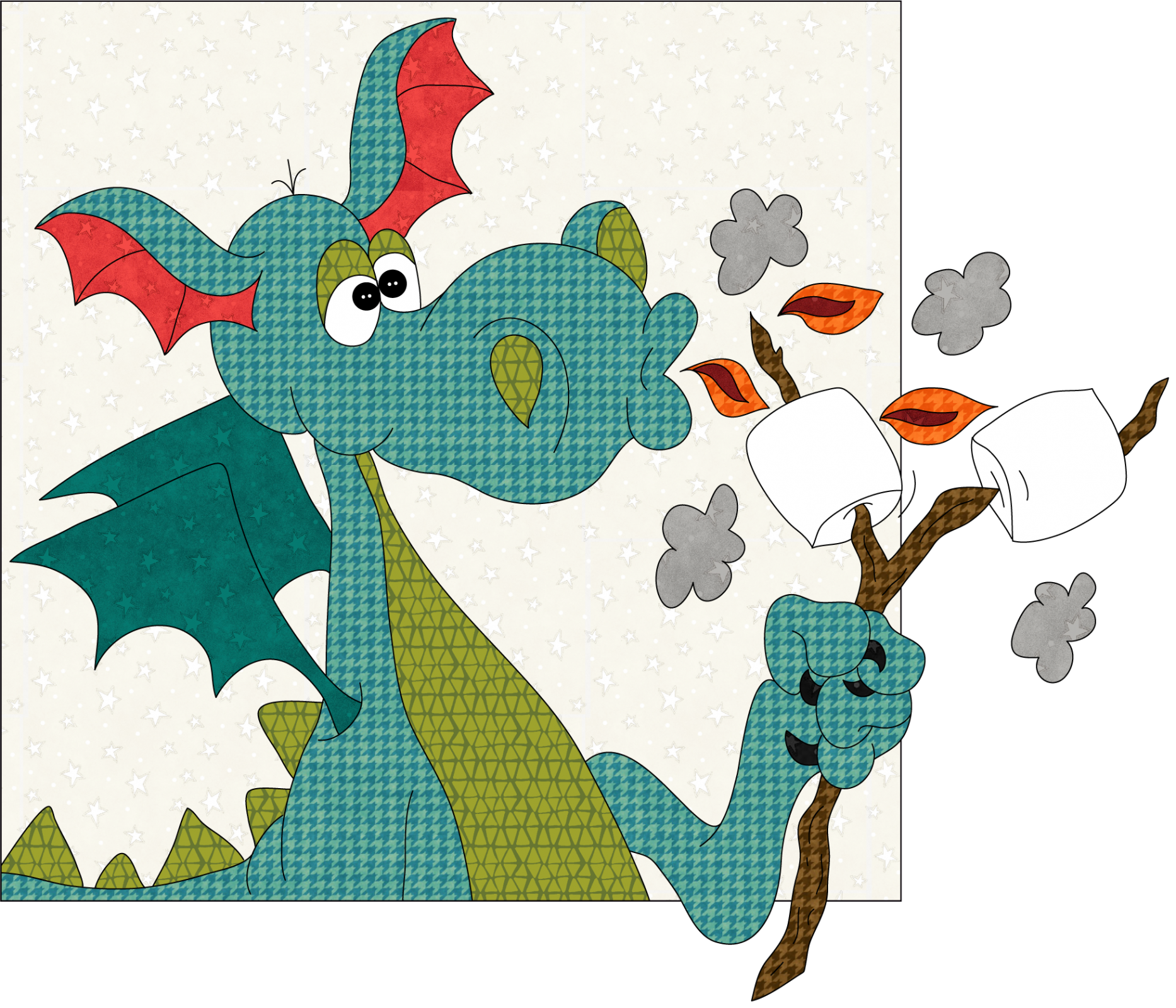 S'Mores Dragon Precut Fused Applique Pack