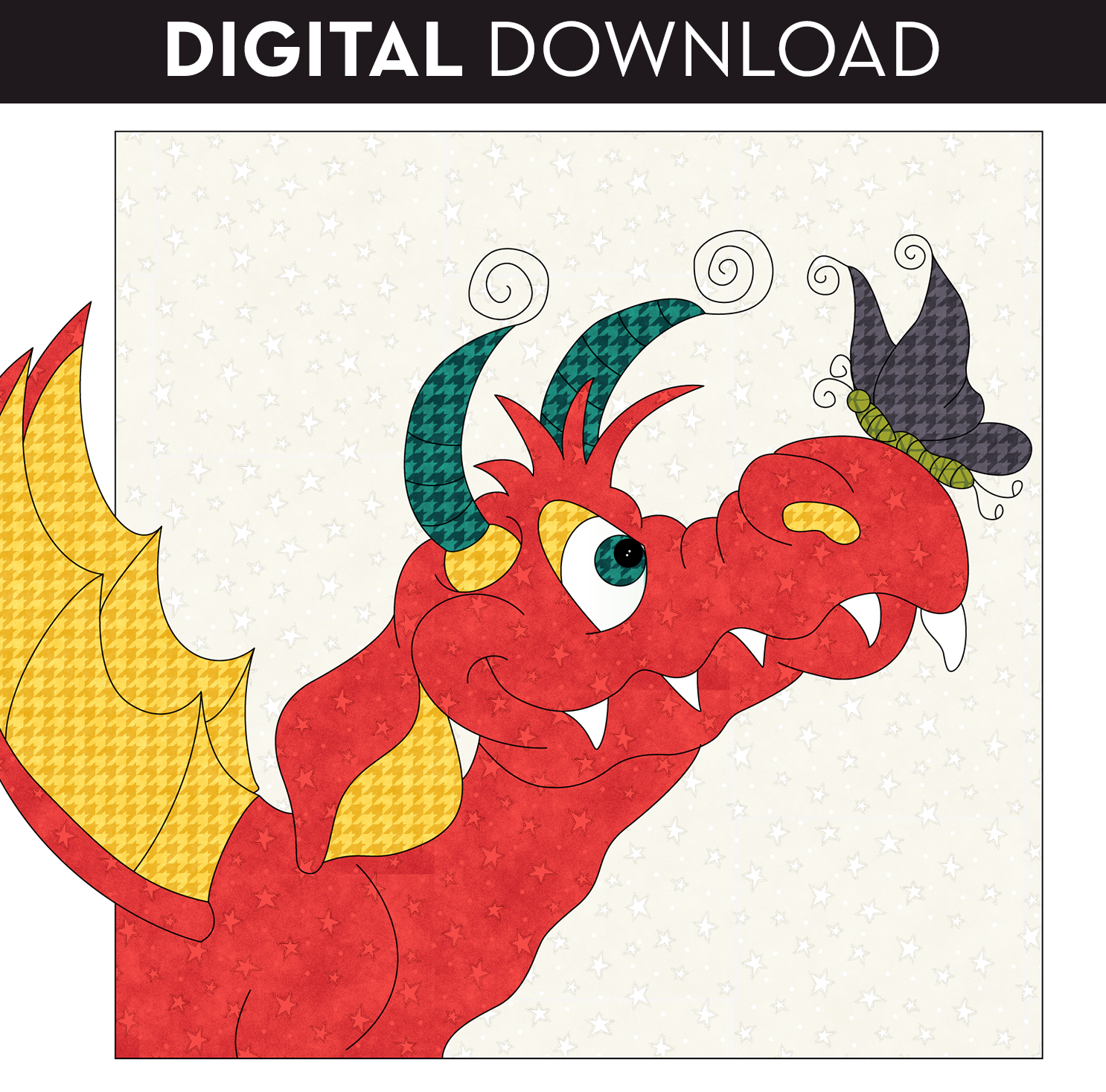 Butterfly Dragon Applique - Download