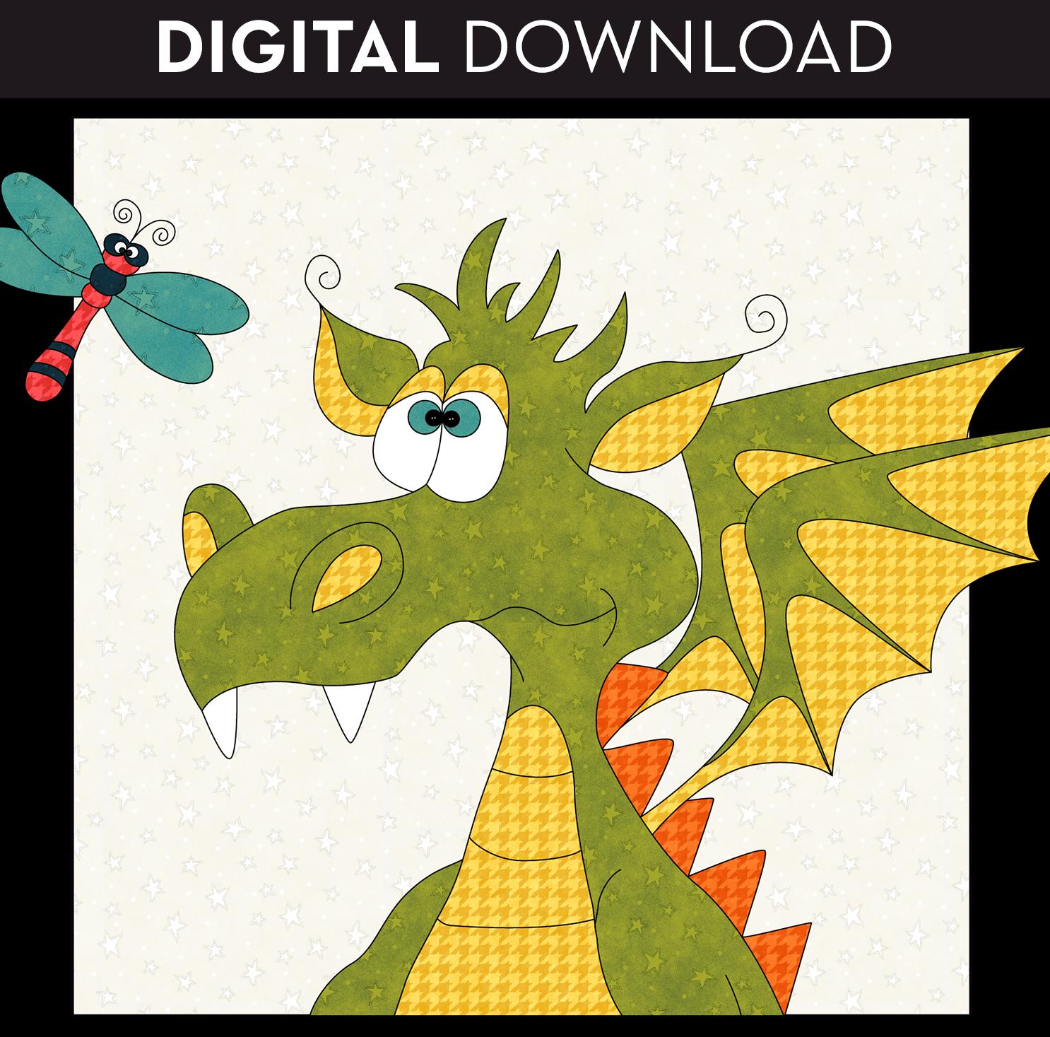 Curious Dragon Applique - Download