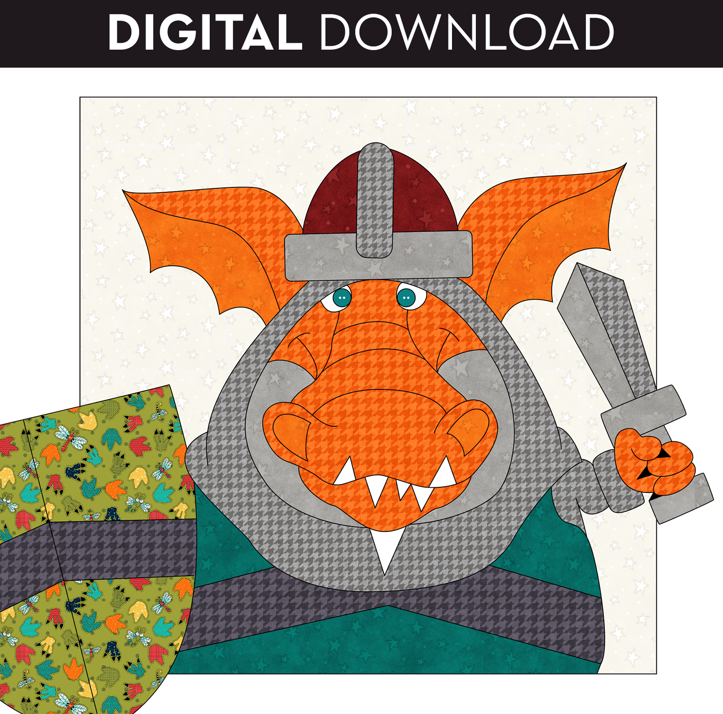 Knight Dragon Applique - Download