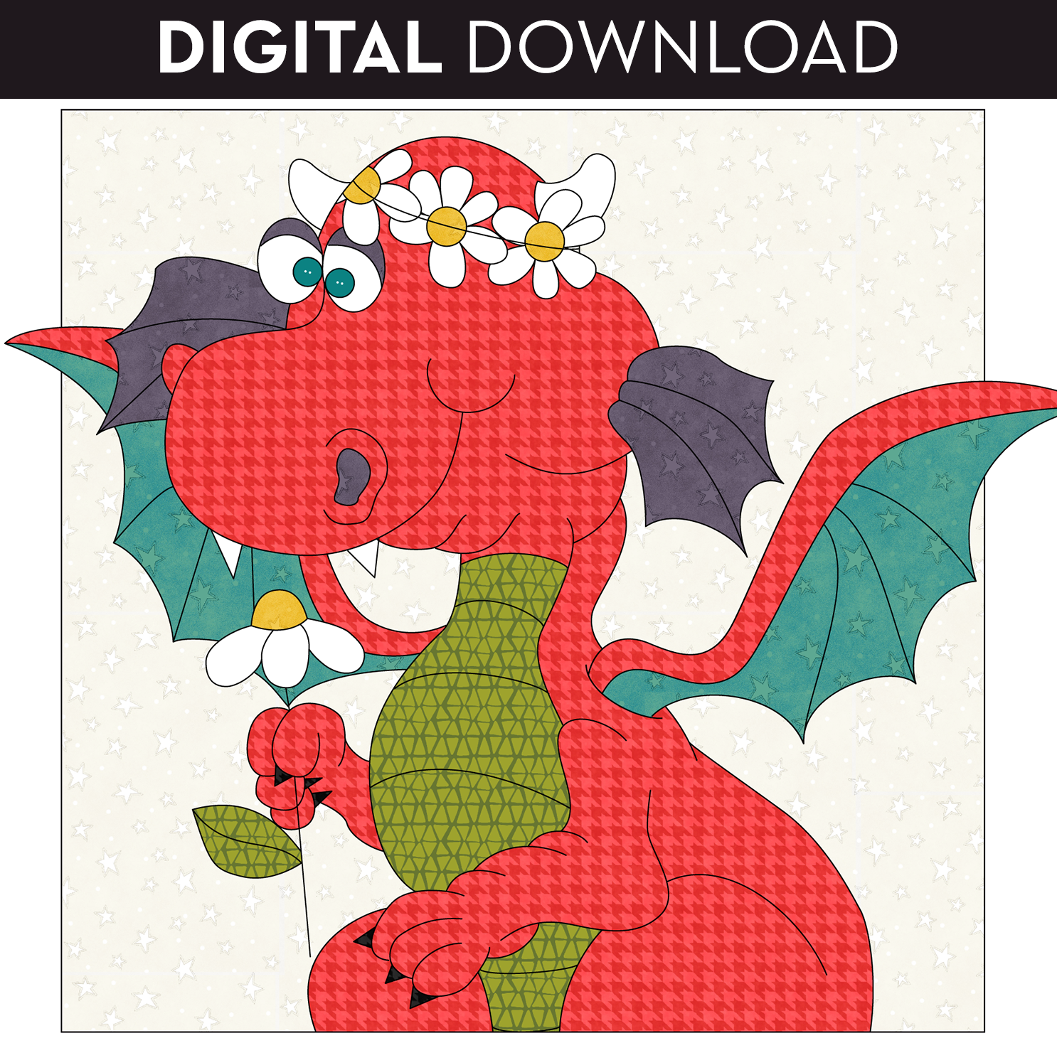 Little Girl Dragon Applique - Download