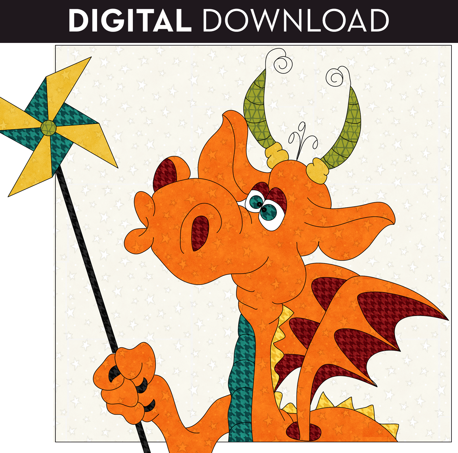 Whirly-Gig Dragon Applique - Download