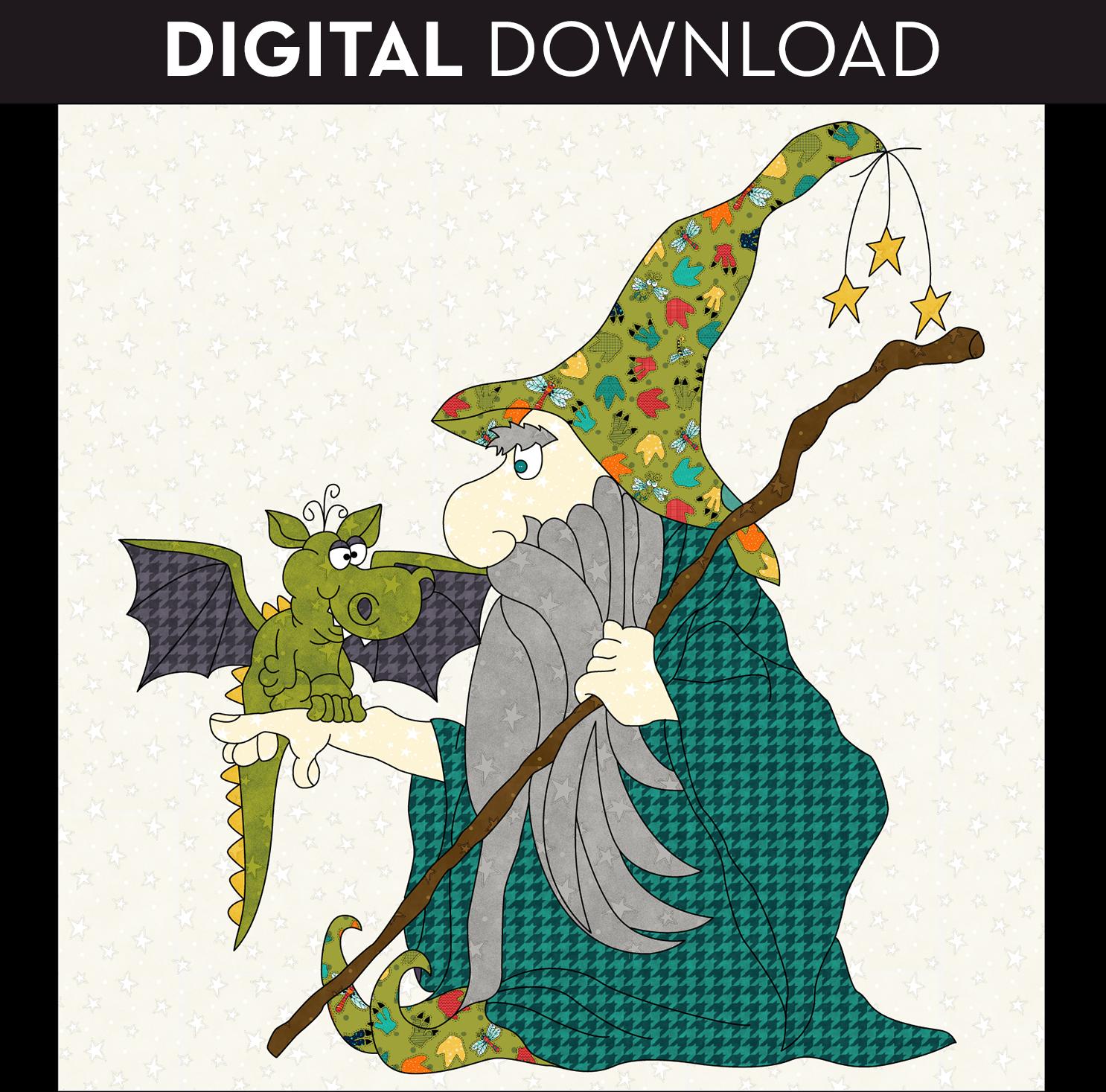 Wizard & Dragon Applique - Download