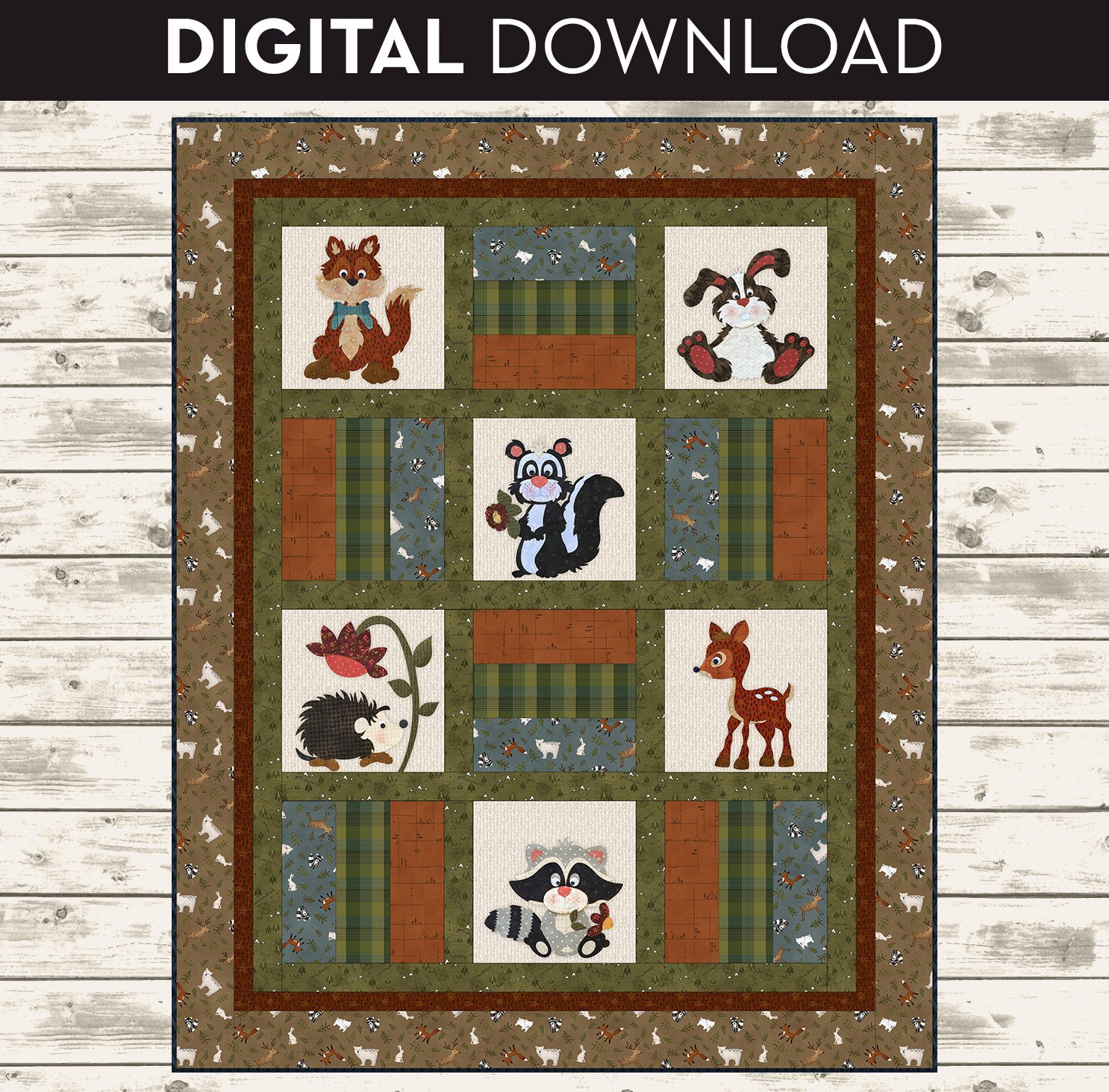 Flannel Woodland Critter Quilt - Download