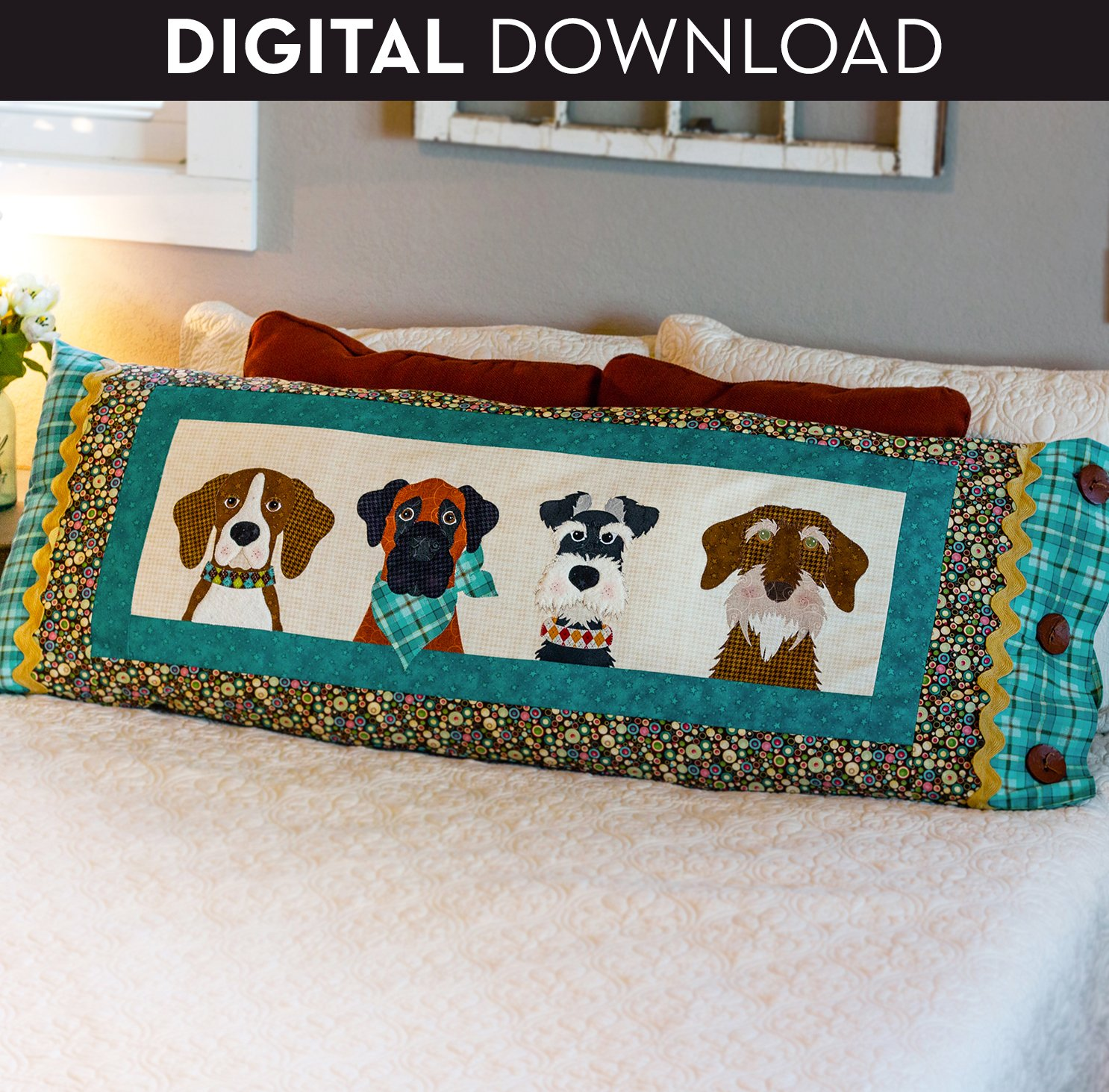 Furry Friends Applique Bench Pillow - Download (Appliques not included)