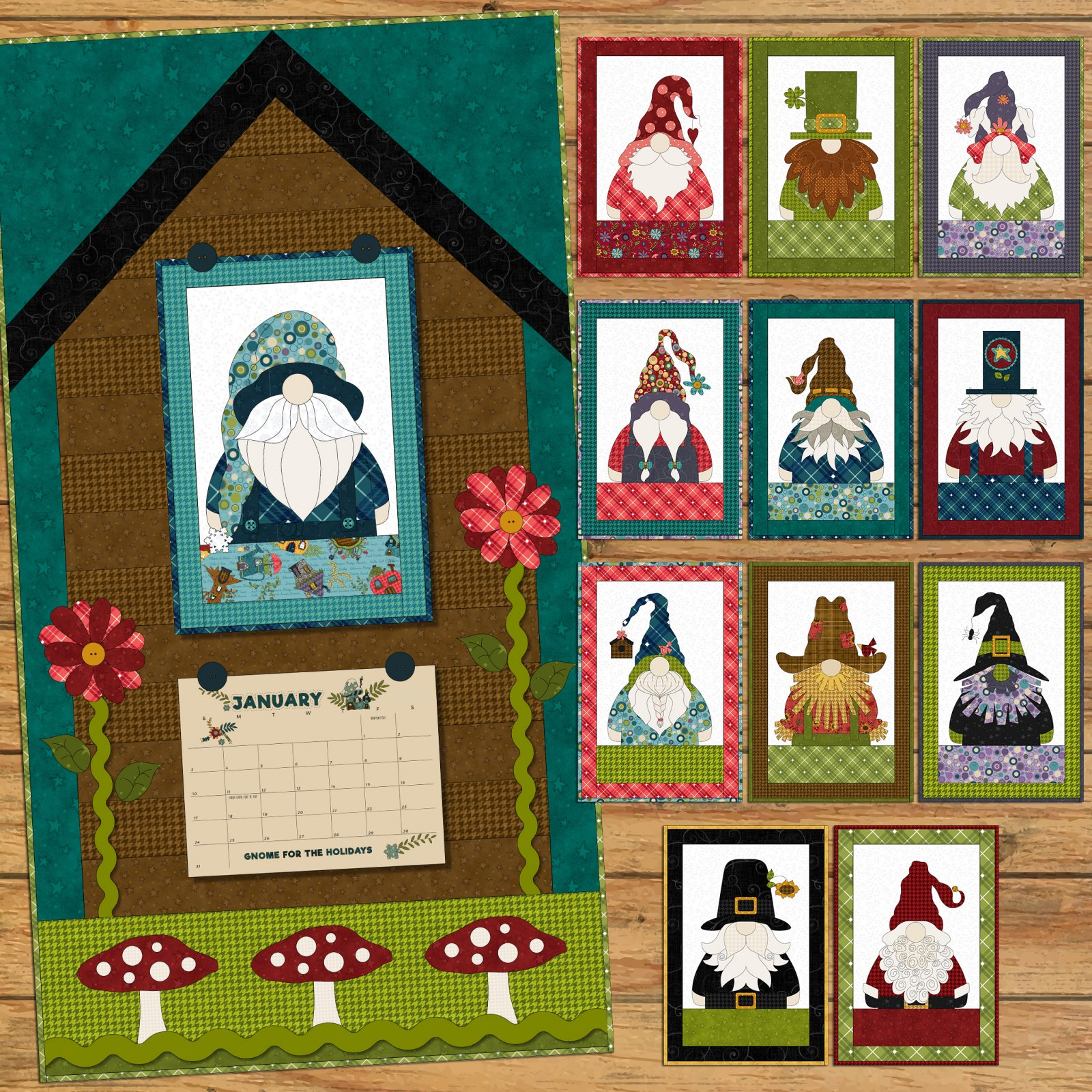 Gnome for the Holidays Calendar Applique Quilt