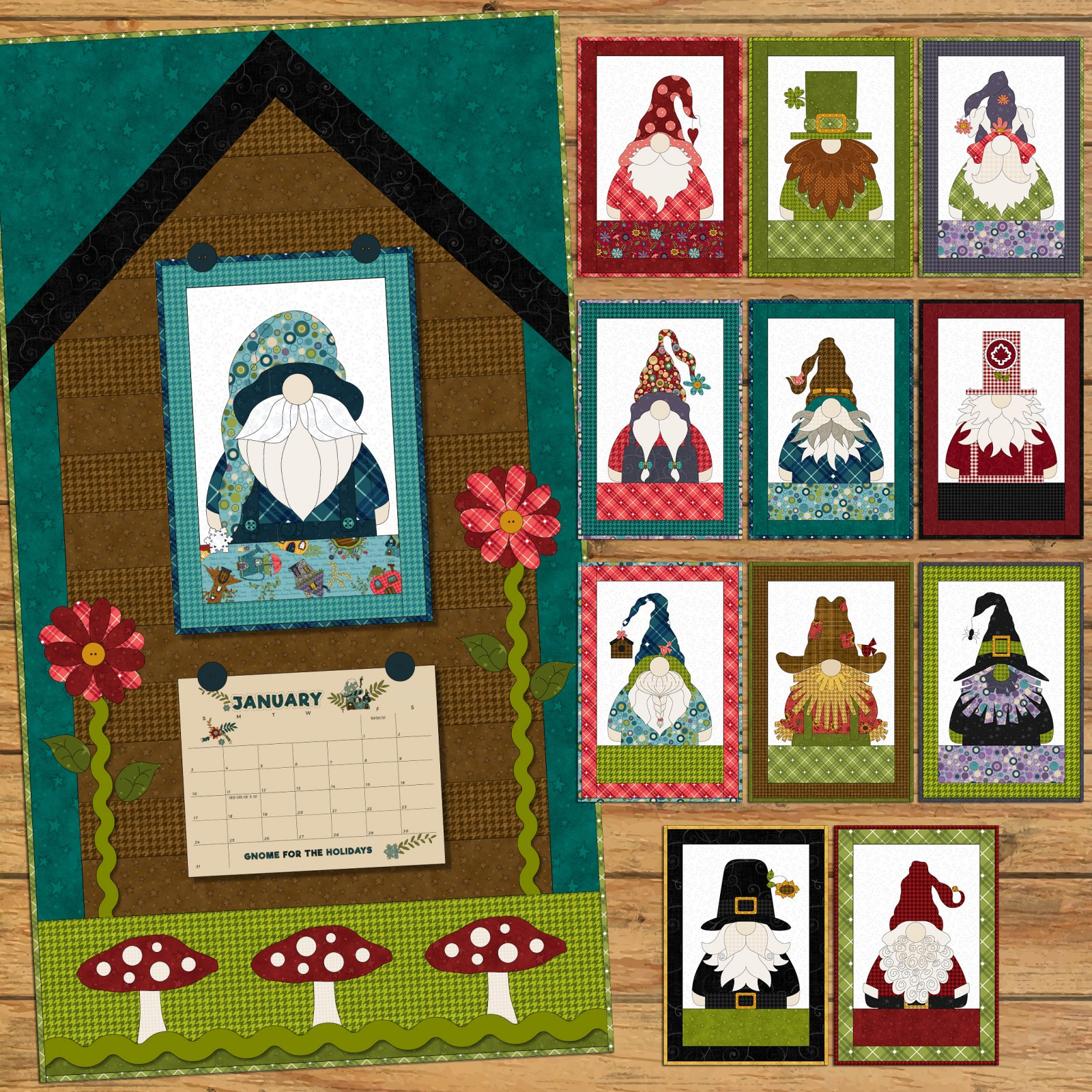 Canada Gnome for the Holidays Calendar Applique Quilt Precut Pack