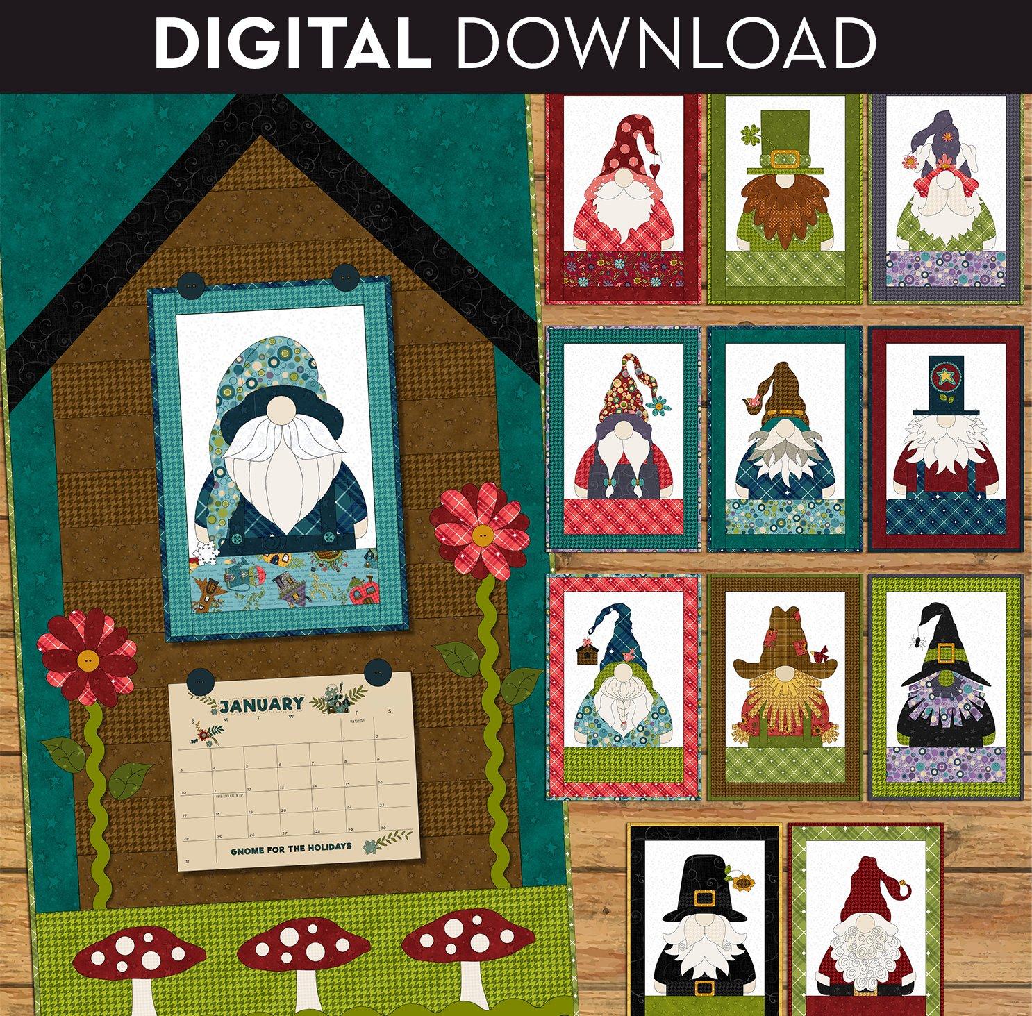 Gnome for the Holidays Calendar Applique Quilt - Download