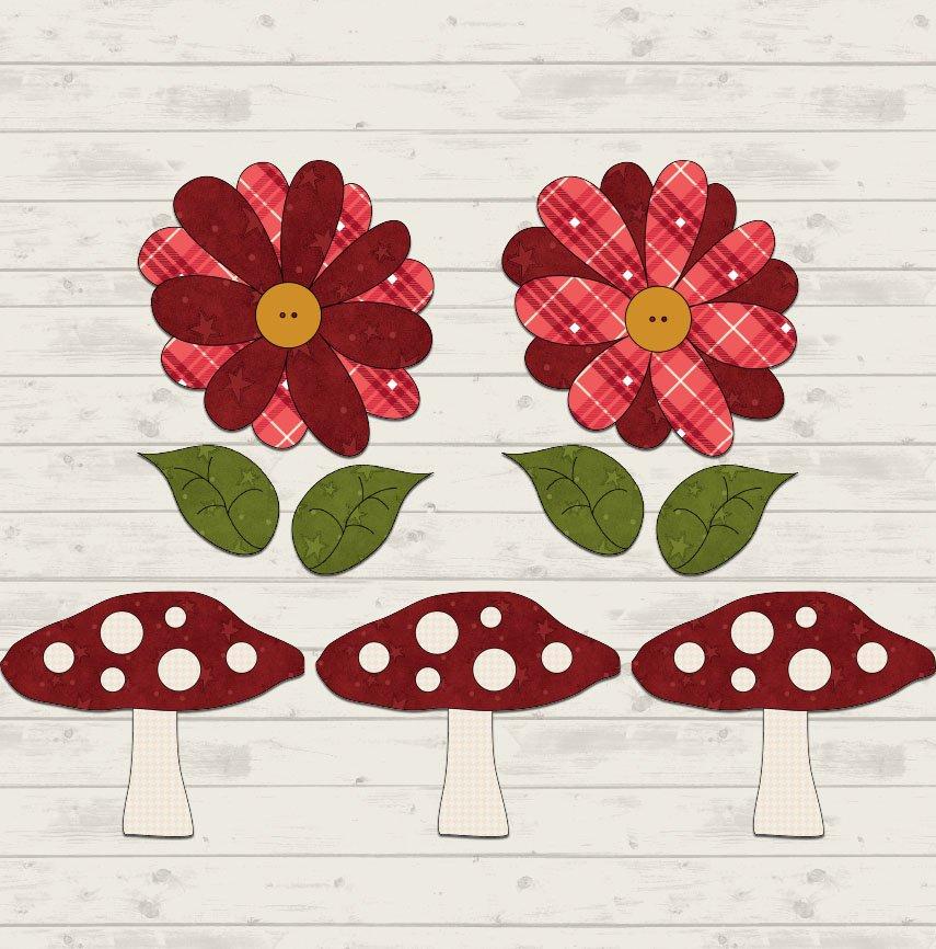 Mushroom & Flowers Precut Fused Applique Pack