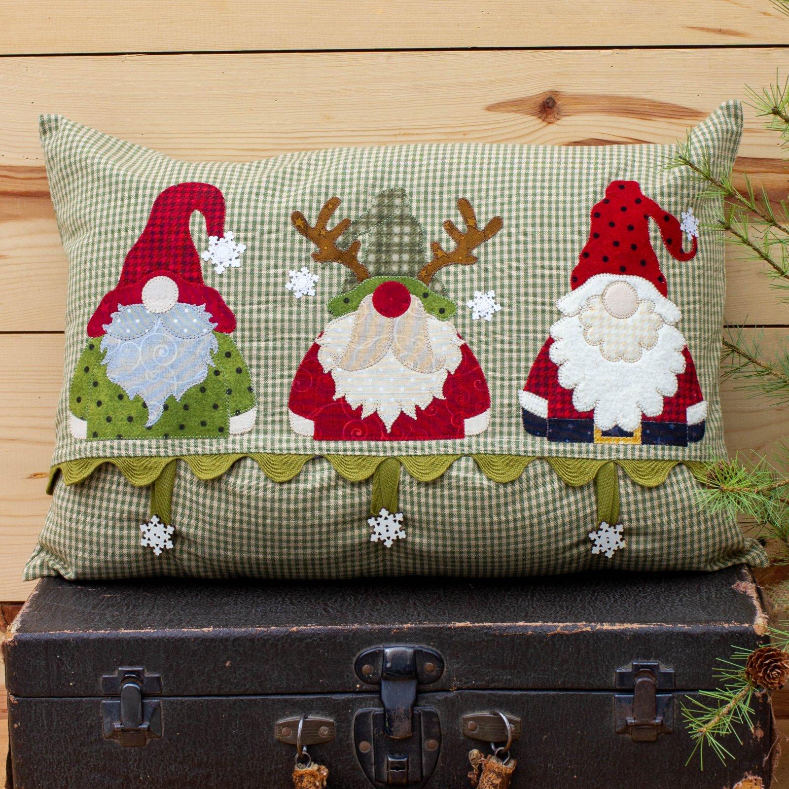 Gnome Trio Applique Pillow Cover Kit