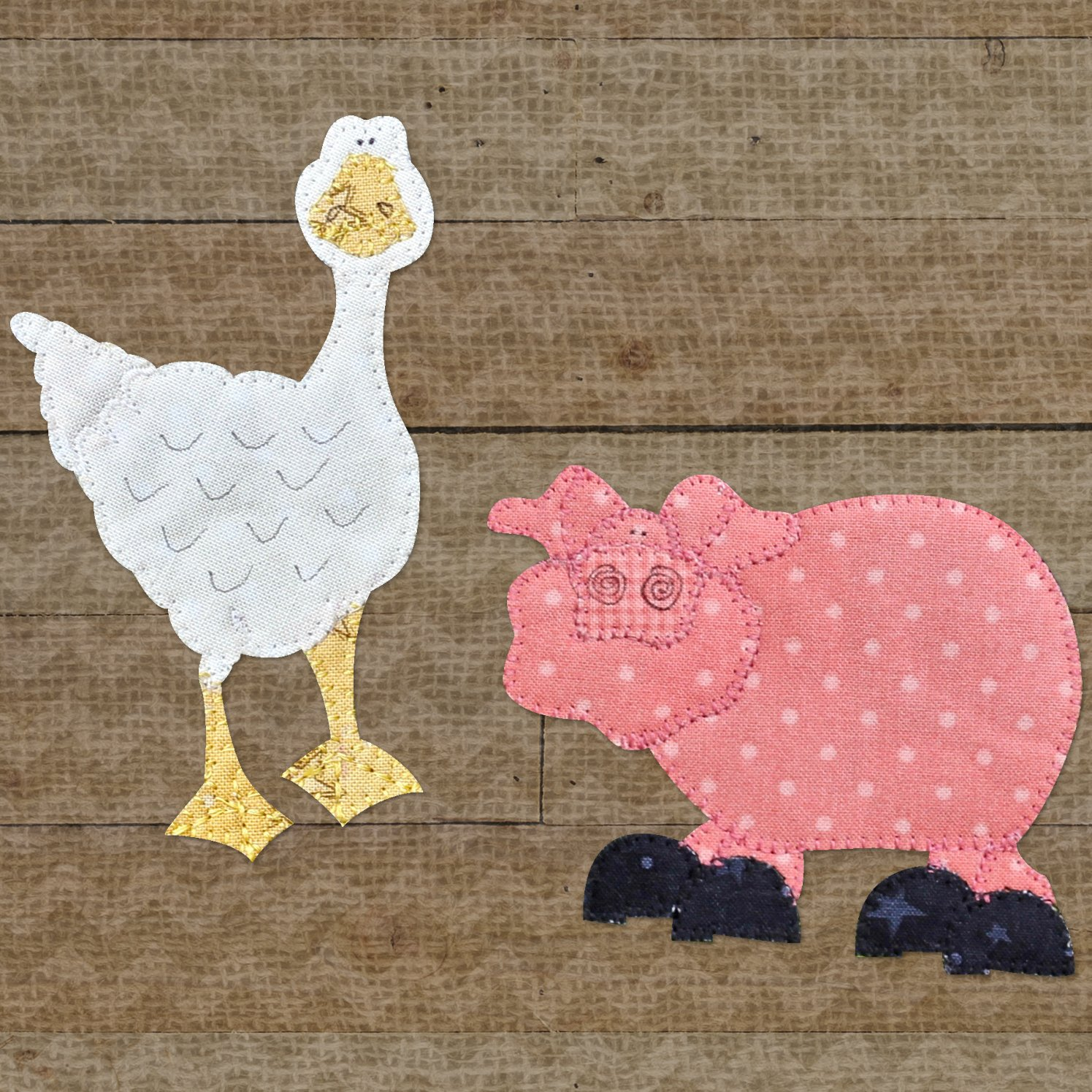 Goose & Pig Precut Fused Applique Kit